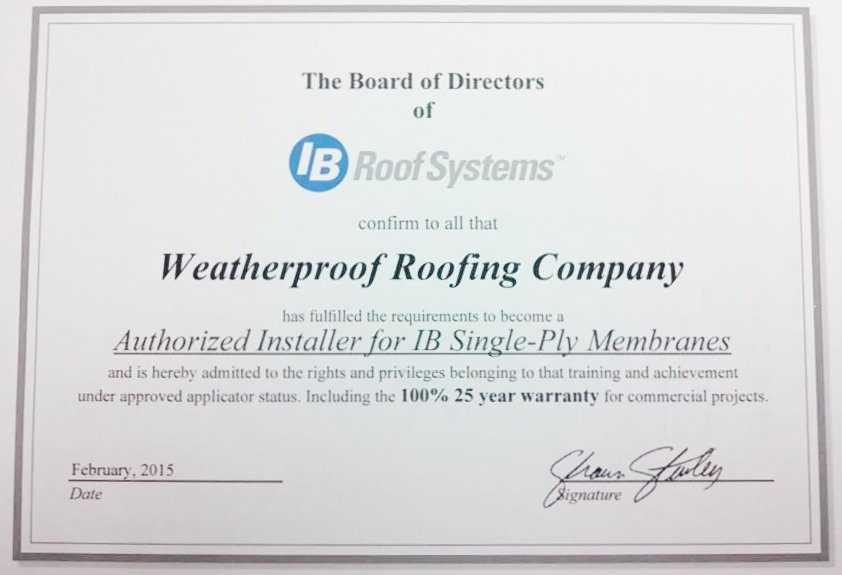 Weatherproof has received another certification from IB RoofSystems